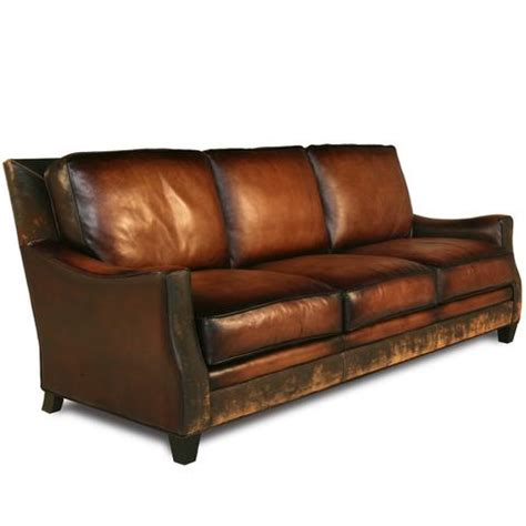 aged leather sofa distressed handmade brown leather sofa
