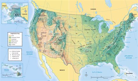 physical map of usa with states us map geographical features interactive map usa us color