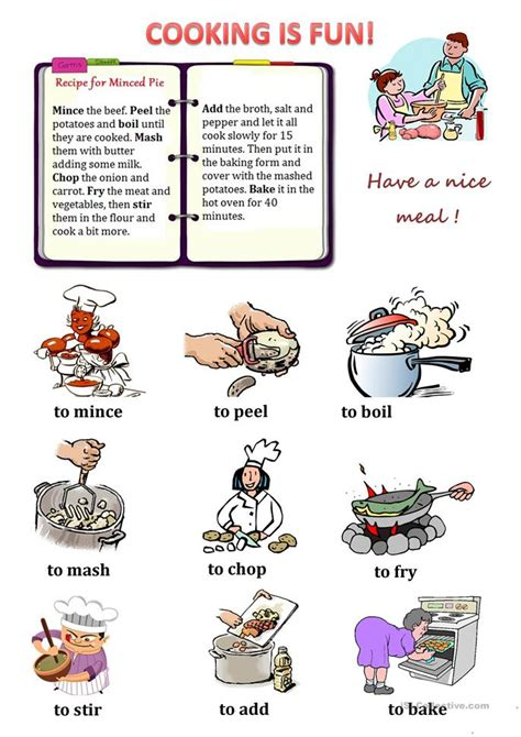 Cooking Vocabulary Worksheet by Cooking Verbs Worksheet Free Esl Printable Worksheets Made By Teachers