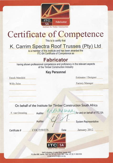 2012   Certificate of Competence