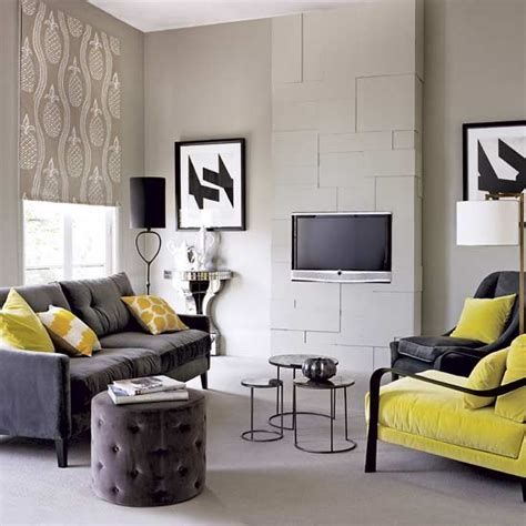 grey yellow living room modern living room with grey color dands