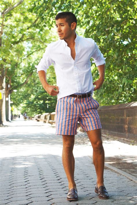 loafers shorts striped shorts white dress shirt brown loafers