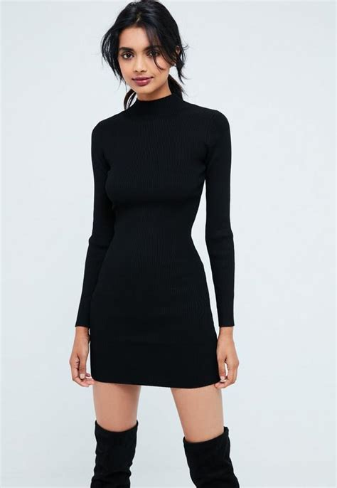 black basic high neck long sleeve sweater dress missguided