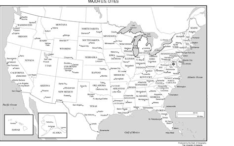 printable us map with cities and towns united states labeled map