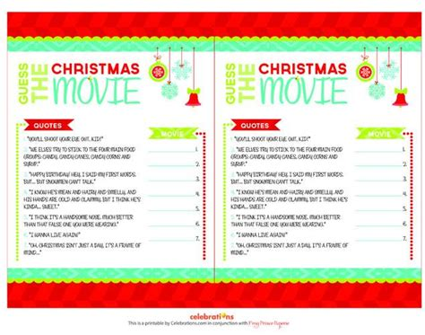 printable christmas movie quiz christmas movie trivia calendar template 2016