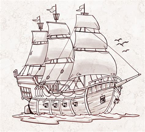 how to draw a boat on paper pirate ship a sketch for a how to draw book art