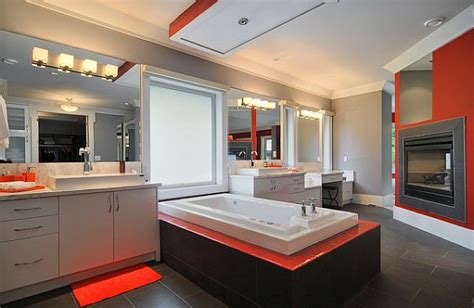 orange and grey bathroom grey and orange bathroom design with white bathtub and bathroom vanity