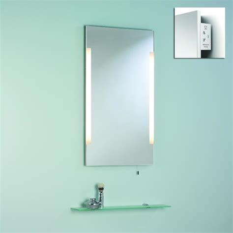 Illuminated Bathroom Mirror With Shaver Socket | esashi illuminated mirror with shaver socket