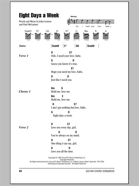 days are chords eight days a week by the beatles guitar chords lyrics
