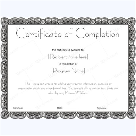 microsoft templates for certificates of completion certificate of completion 20 word layouts