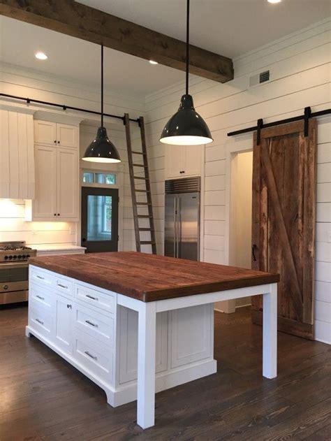 kitchen blocks island kitchen kitchen island lights barn door ship lap beams home