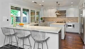 Kitchen Peninsula With Stools Bertoia Counter Stools Contemporary Kitchen More