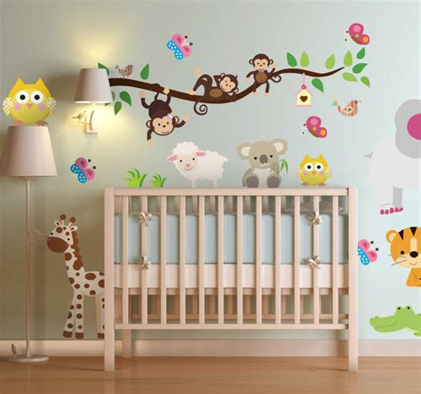 brilliant animal wall sticker illustrating different jungle animals tree