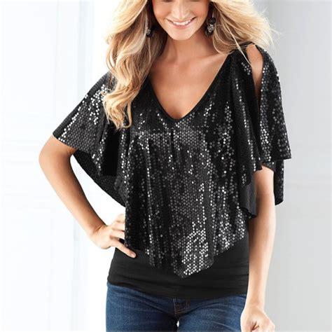 Sleeve Glitter T Shirt beautiful sequin sparkle glitter tank