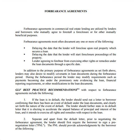forbearance agreement template sle forbearance agreement 6 documents in pdf word