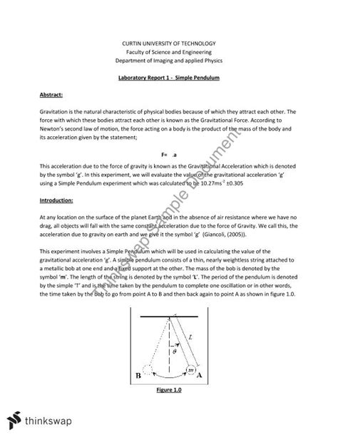 Pendulum Lab Report by Simple Pendulum Lab Report Phys1006 Foundations Of