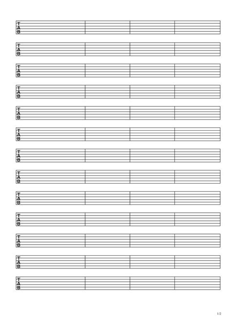 Free Blank Guitar Tab Paper Music Lessons Pinterest Tablature Guitar And Sheet Music Guitar Tab Template Excel