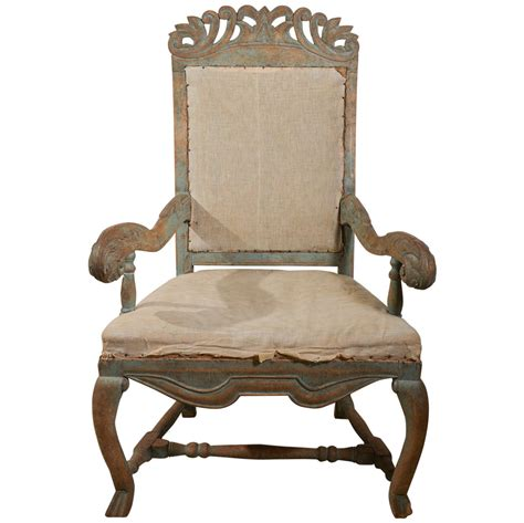 swedish recliner chairs swedish baroque chair in original paint at 1stdibs
