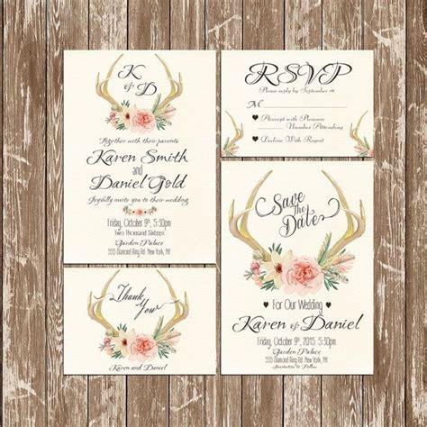 deer wedding invitations deer antler wedding invitation rustic watercolor set suite