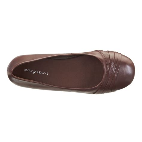 womens flat brown shoes easy spirit essedette brown leather womens flat shoes