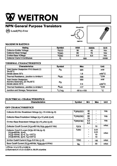 datasheet of transistor 2222a mps2222 weitron npn general purpose transistors html datasheet