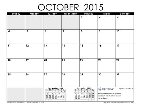 printable monthly calendar october 2015 image gallery month of october 2015