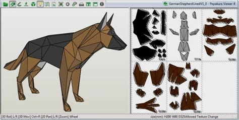 papermau german shepherd paper model by rafael porto