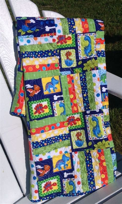 Dinosaur Baby Quilt by Colorful Dinosaur Baby Quilt From Http Www