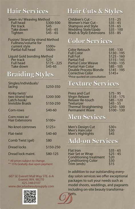 Hair Dresser Prices by Decarla S