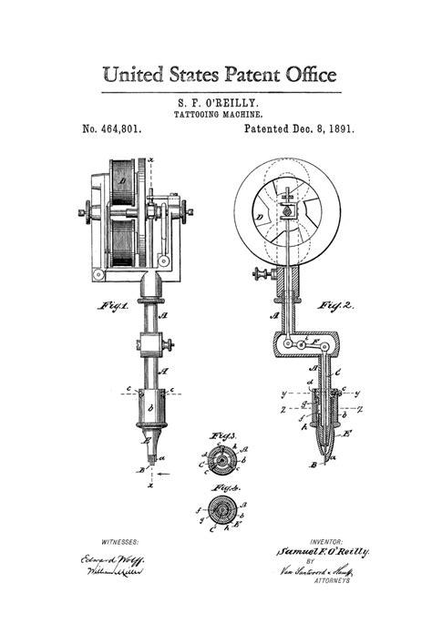 Tattoo Gun Patent | first tattoo machine patent 1891 tattoo gun patent
