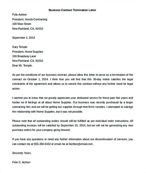 termination letter for business relationship 17 termination letter template