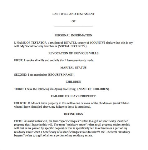 last will and testament template pdf sle last will and testament form 7 documents in word