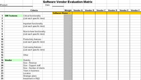 software selection criteria template software vendor evaluation tool itlever