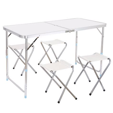 Adjustable Height Outdoor Dining Table Finether Height Adjustable Aluminum Folding Table Portable For Indoor Outdoor Activity