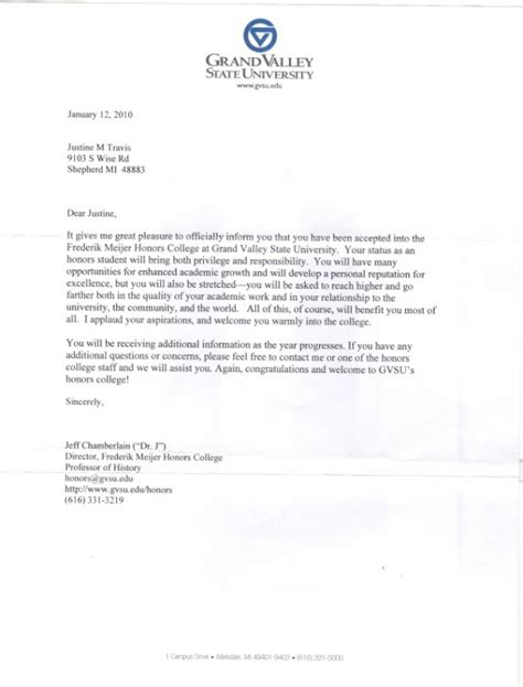 Honors College Acceptance Letter Individual Goals Justine Travis High School Portfolio