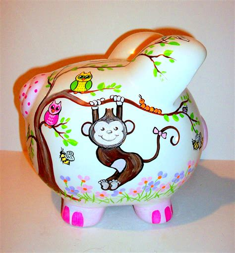 painted piggy banks monkey ceramic piggy bank jumbo painted large baby