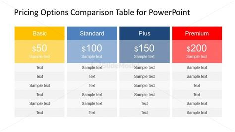 Professional Plans And Pricing Powerpoint Table Slidemodel Professional Table