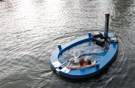 floating hot tub the wood fired hot tub that s also a boat gear junkie
