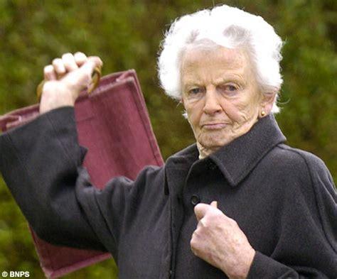 old ladies tory baroness 84 uses handbag to whack cyclist who