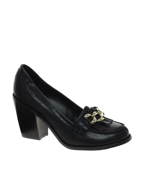 new loafer shoes asos new look tastic block heel loafer shoes in black lyst