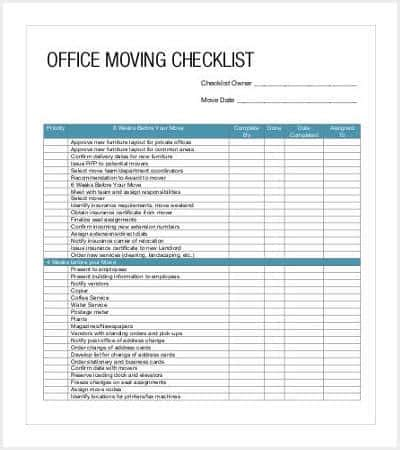 Office Relocation Template 38 checklist templates free premium templates