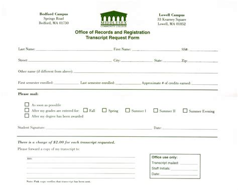 transcript request form middlesex community college transcript request form