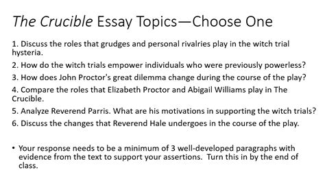 the crucible themes pride crucible essay topics