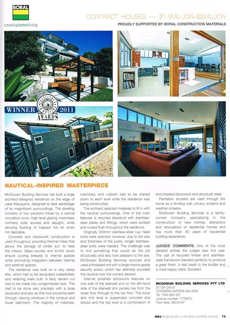 Mba Housing Awards by Mba Excellence In Housing Awards Annual 2011 Mcgowan Homes