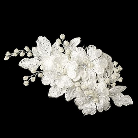 Flowers Lace silverbloom lace bridal comb bridal hair accessories