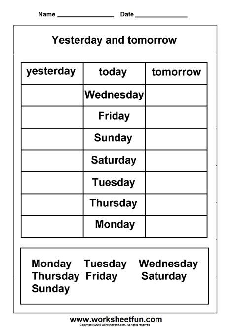 Days of the week - yesterday and tomorrow   Printable
