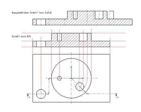 technisches zeichnen schnitt schnittverlauf in zeichnung dassault systemes plm