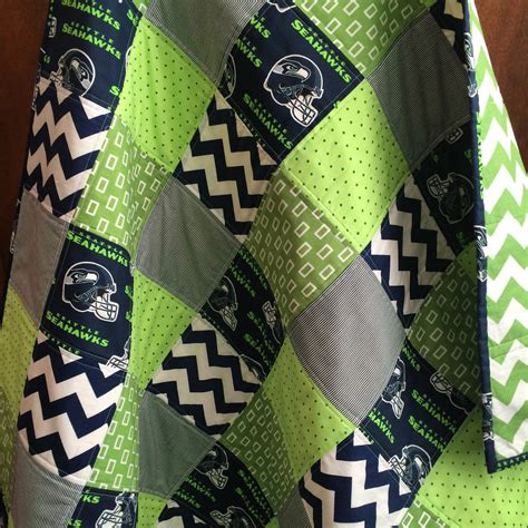 Seattle Handmade - seahawks baby handmade quilt blue chevron blanket seattle