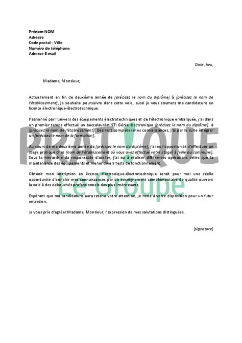 Exemple Lettre De Motivation Apb Licence Lettre De Motivation Pour Une Licence 233 Lectronique 233 Lectrotechnique Pratique Fr