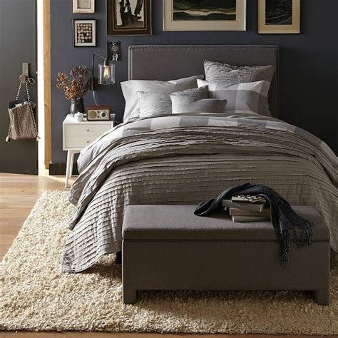 Quilted Bed Backboard by Master Bed Frayed Edge Quilt Shams West Elm Finding Our Style For Out 1st Place